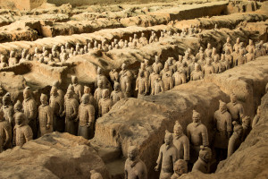 An overview of the Terracotta Warriors in the Terracotta Museum of Xian, China.